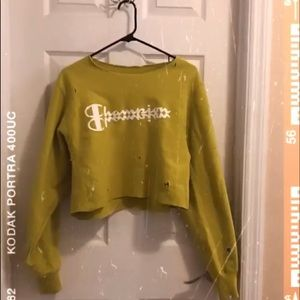 Lime Cropped & Distressed Champion Sweater